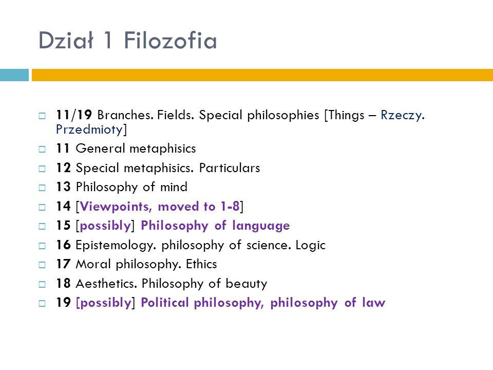 Dział 1 Filozofia11/19 Branches. Fields. Special philosophies [Things – Rzeczy. Przedmioty] 11 General metaphisics.